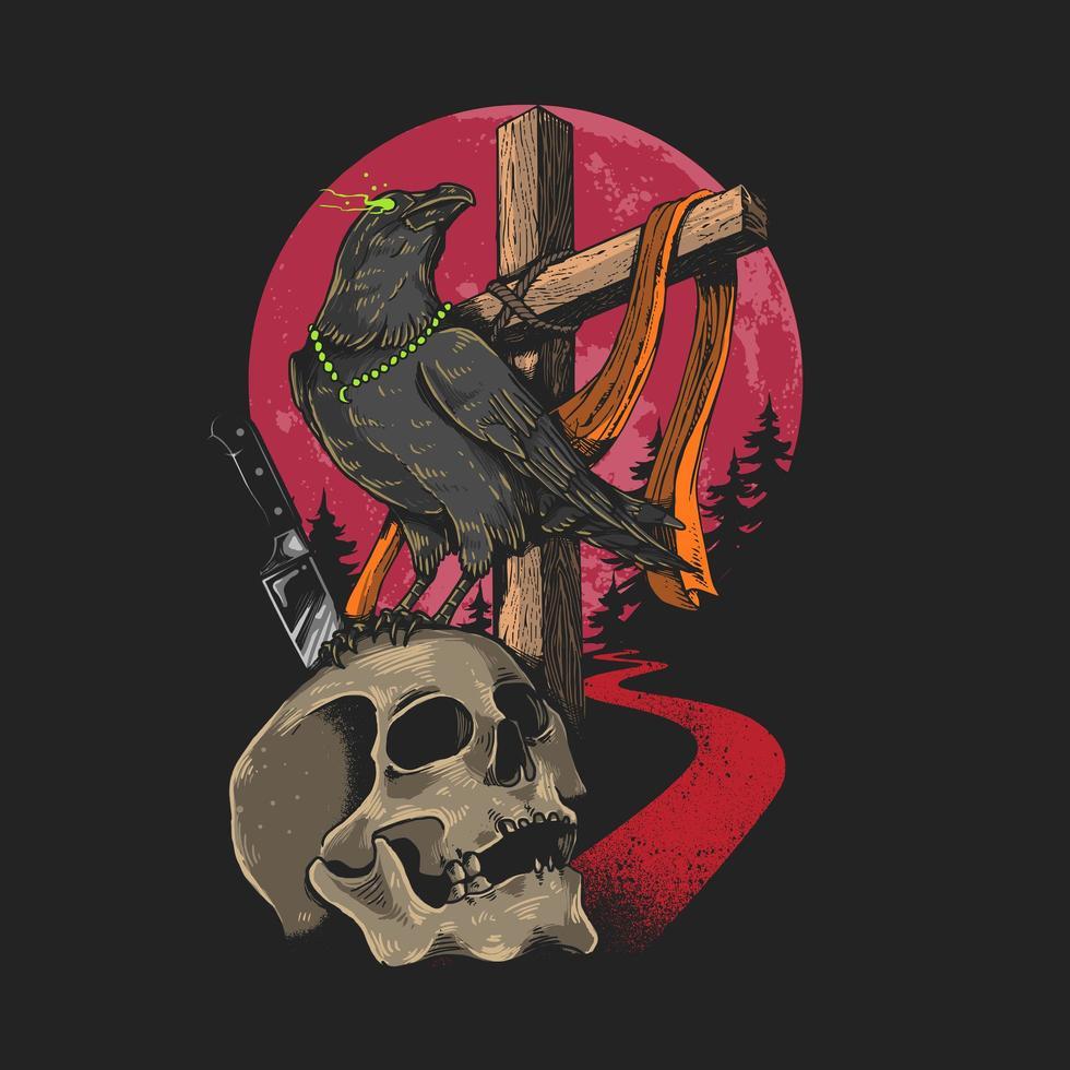 cráneo y cuervo con ojos brillantes vector