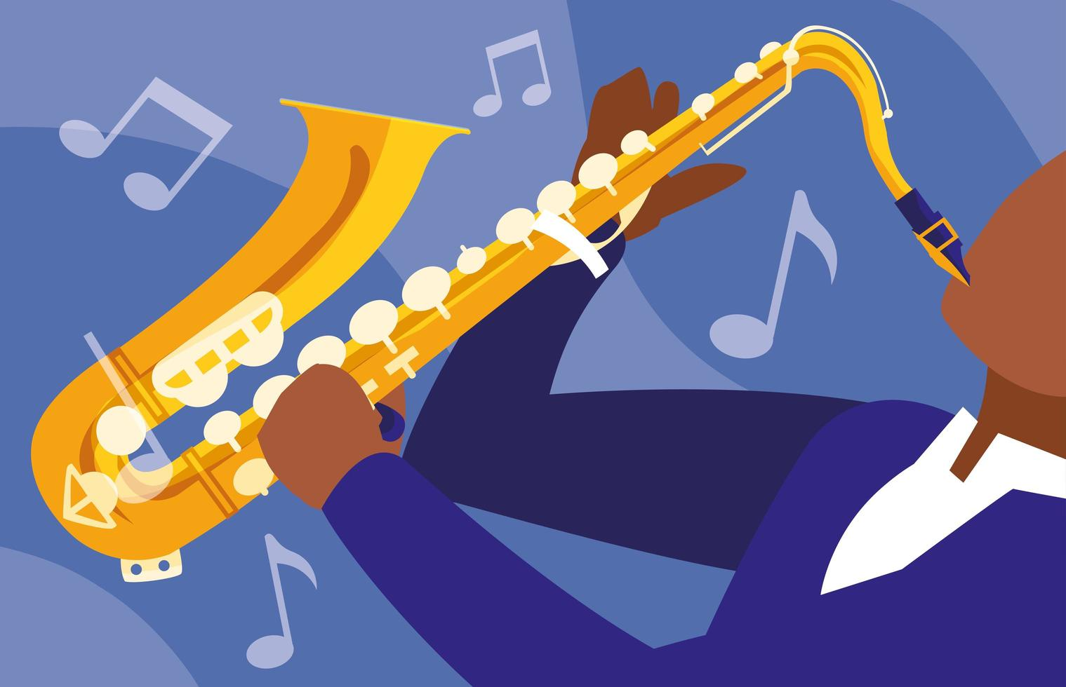 Man playing saxophone instrument vector