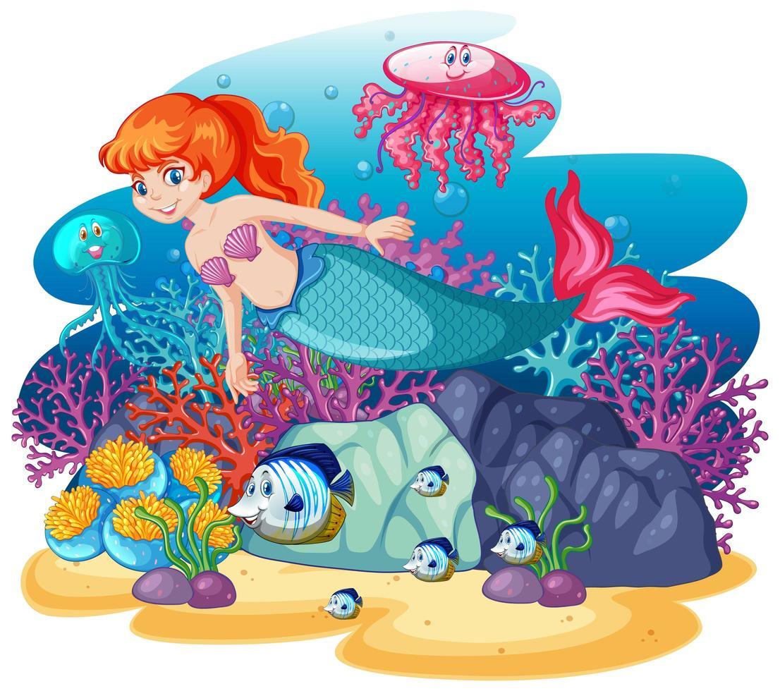 linda sirena bajo el agua vector