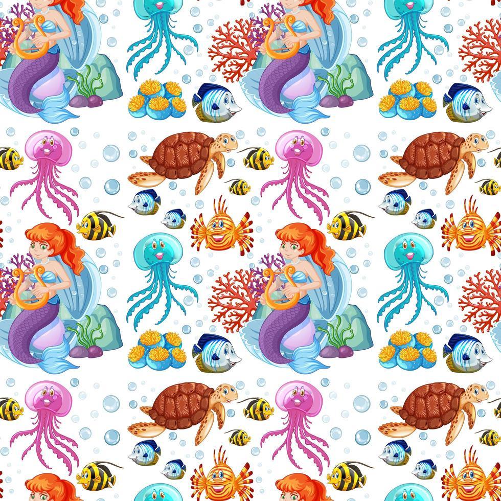 sirena y animales marinos sobre fondo blanco. vector