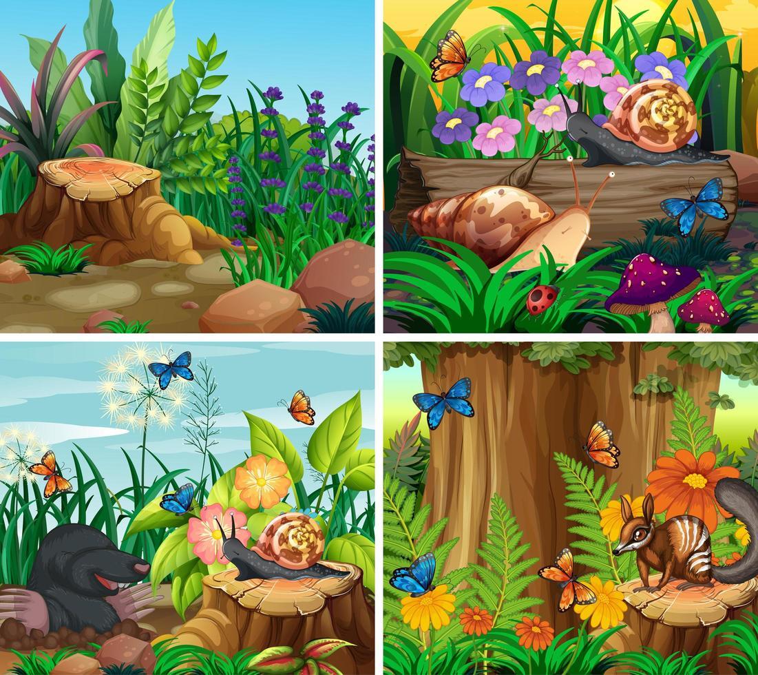 conjunto de escena de fondo con tema de naturaleza vector