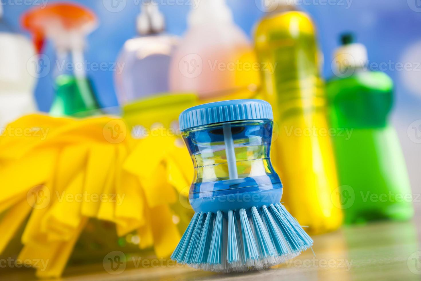 Group of assorted cleaning, home work colorful theme photo