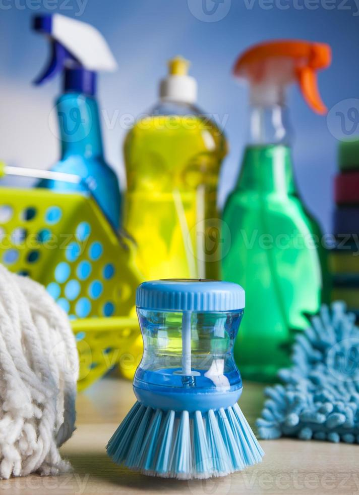 Variety of cleaning products, home work colorful theme photo