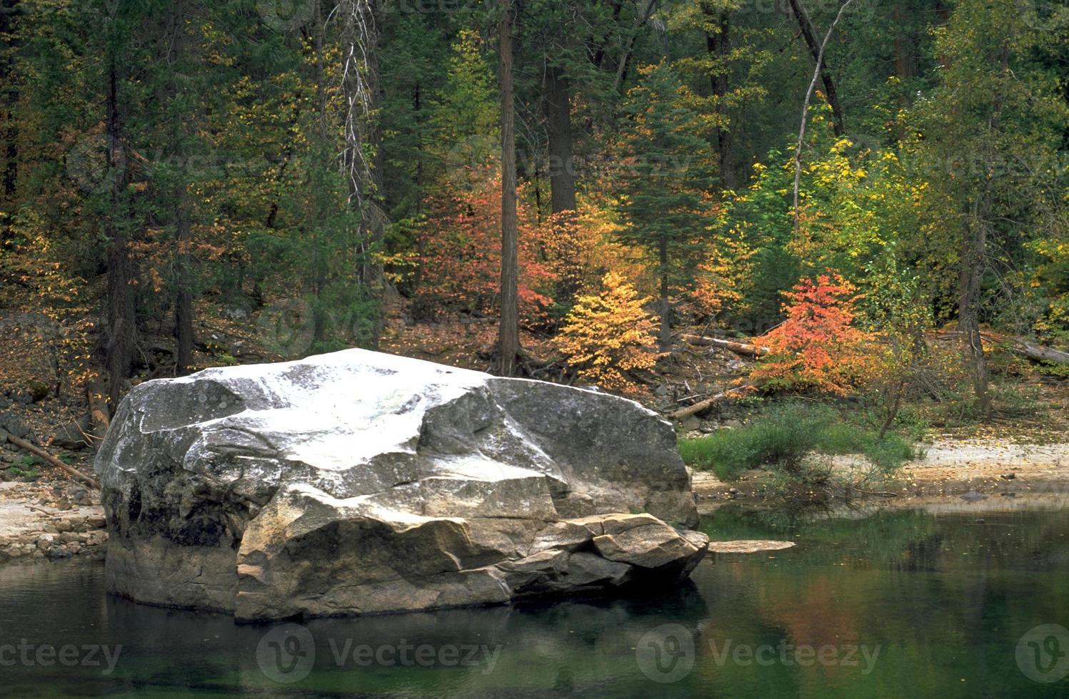río merced en el parque nacional de yosemite color de otoño foto