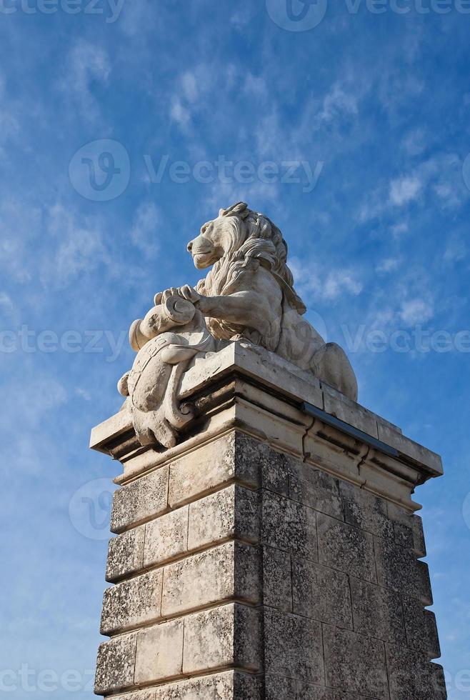 escultura de león de un puente (1868). arles, francia foto