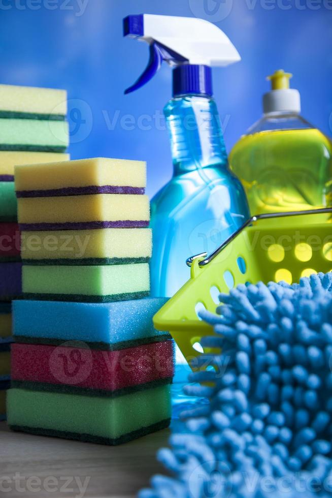 Cleaning products, home work colorful theme photo
