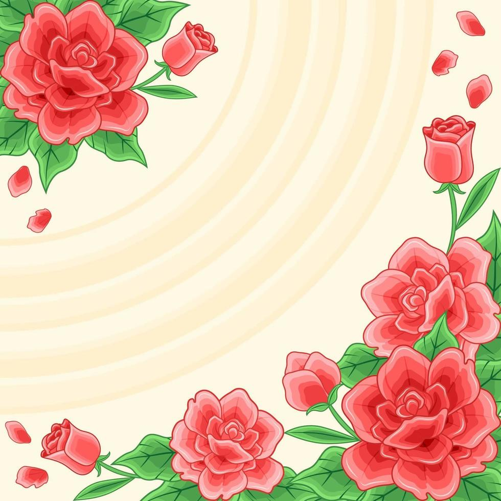 Blossoming Red Roses Background vector