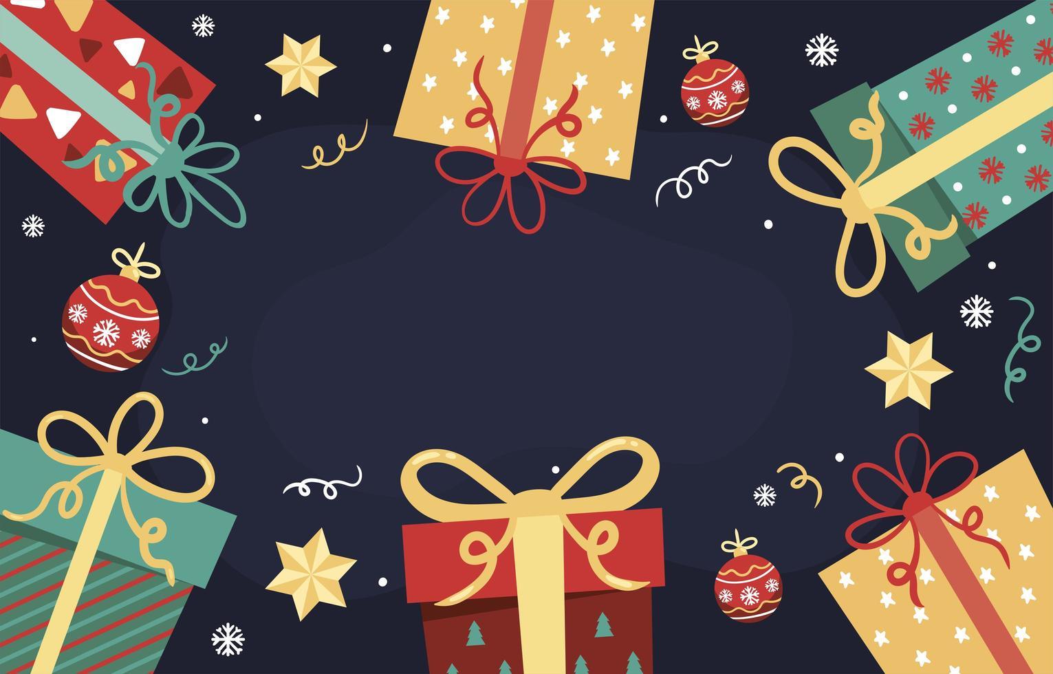 fundo de presente de natal alegre vetor