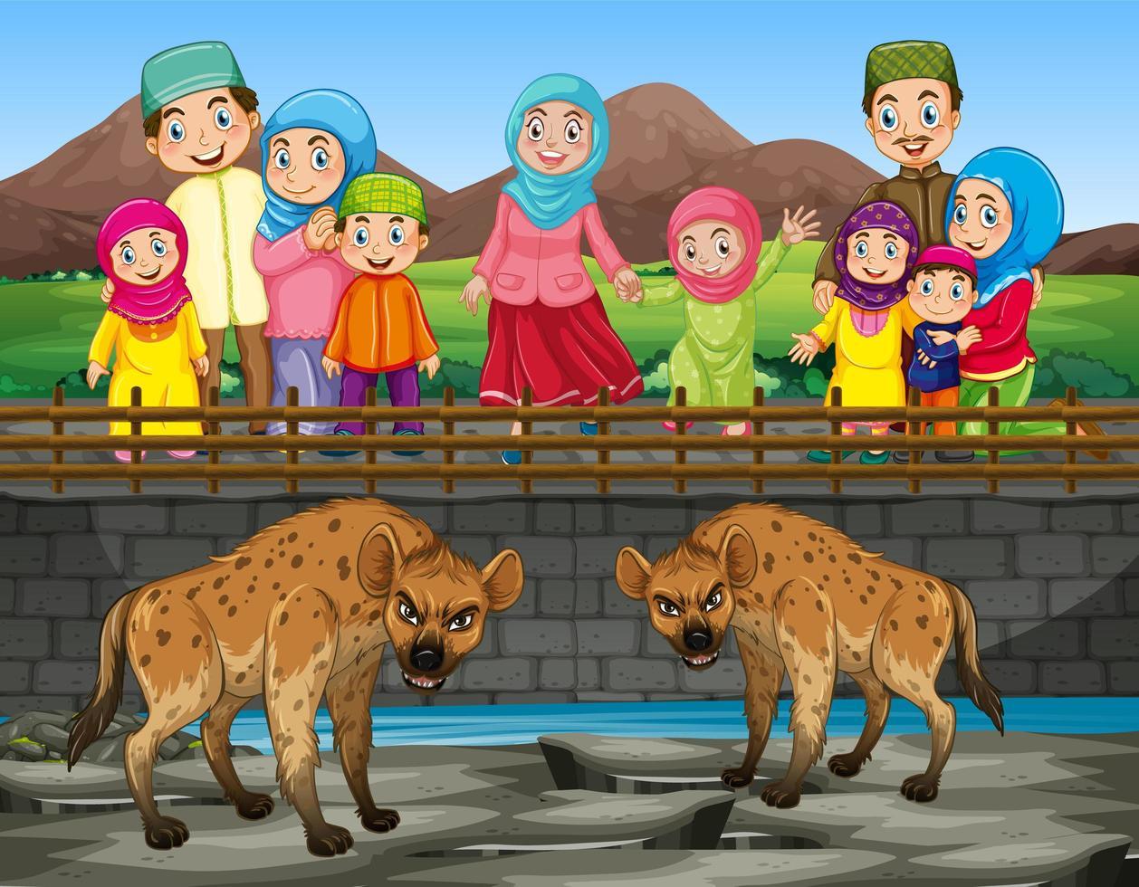 escena con hiena y gente en el zoológico. vector