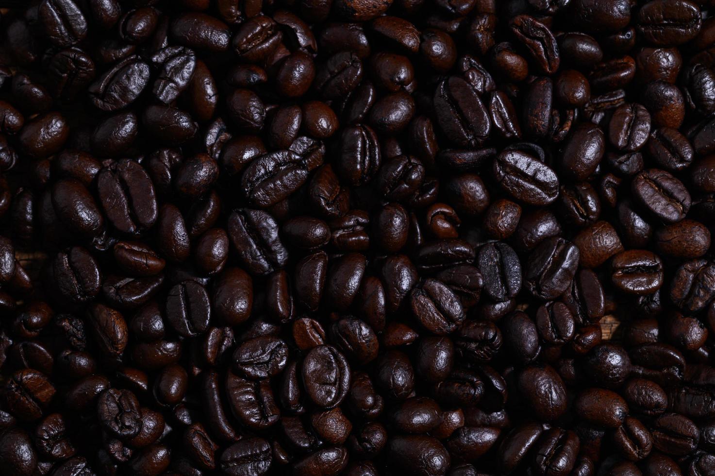 vista superior de granos de cafe foto