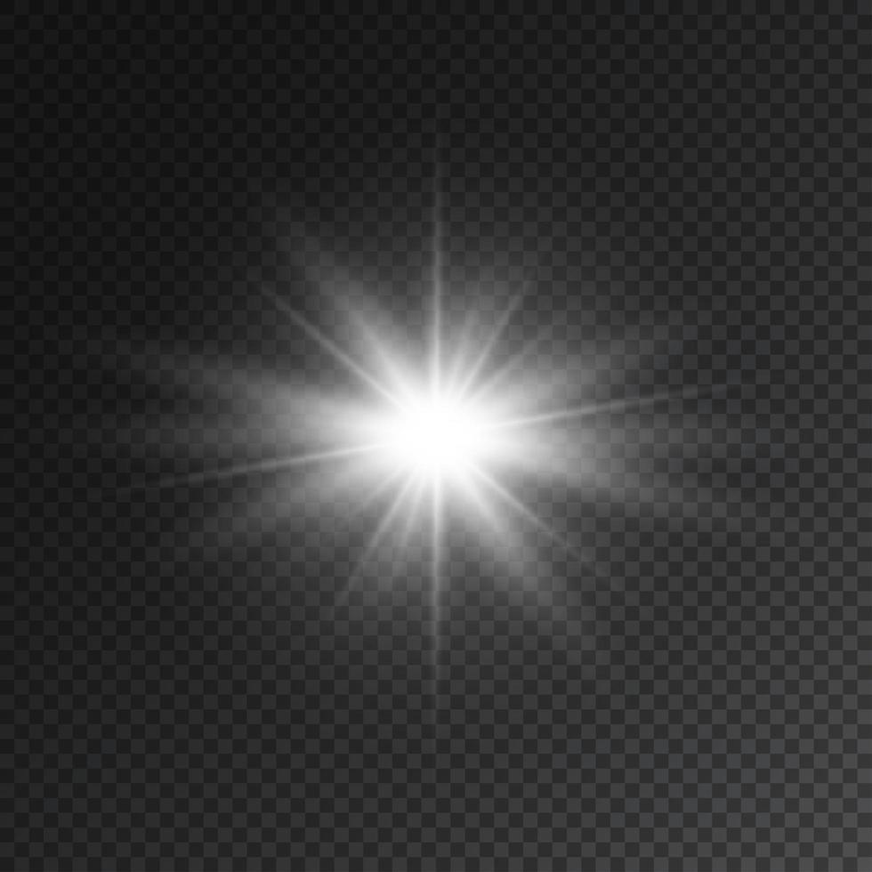 flash estrella transparente con foco y lente vector