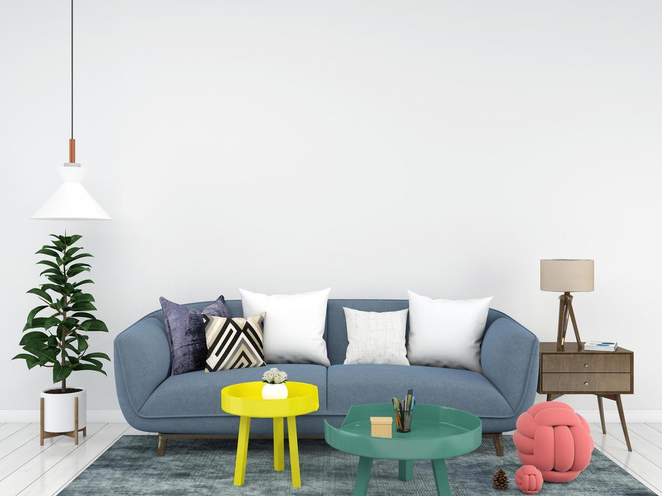 sala de estar interior 3d render foto