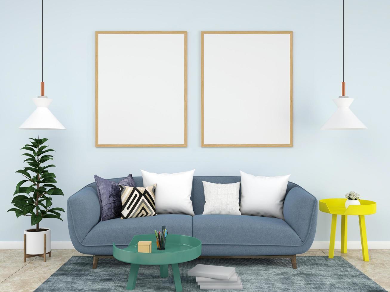 Plantilla de marco vacío en salón azul pastel foto