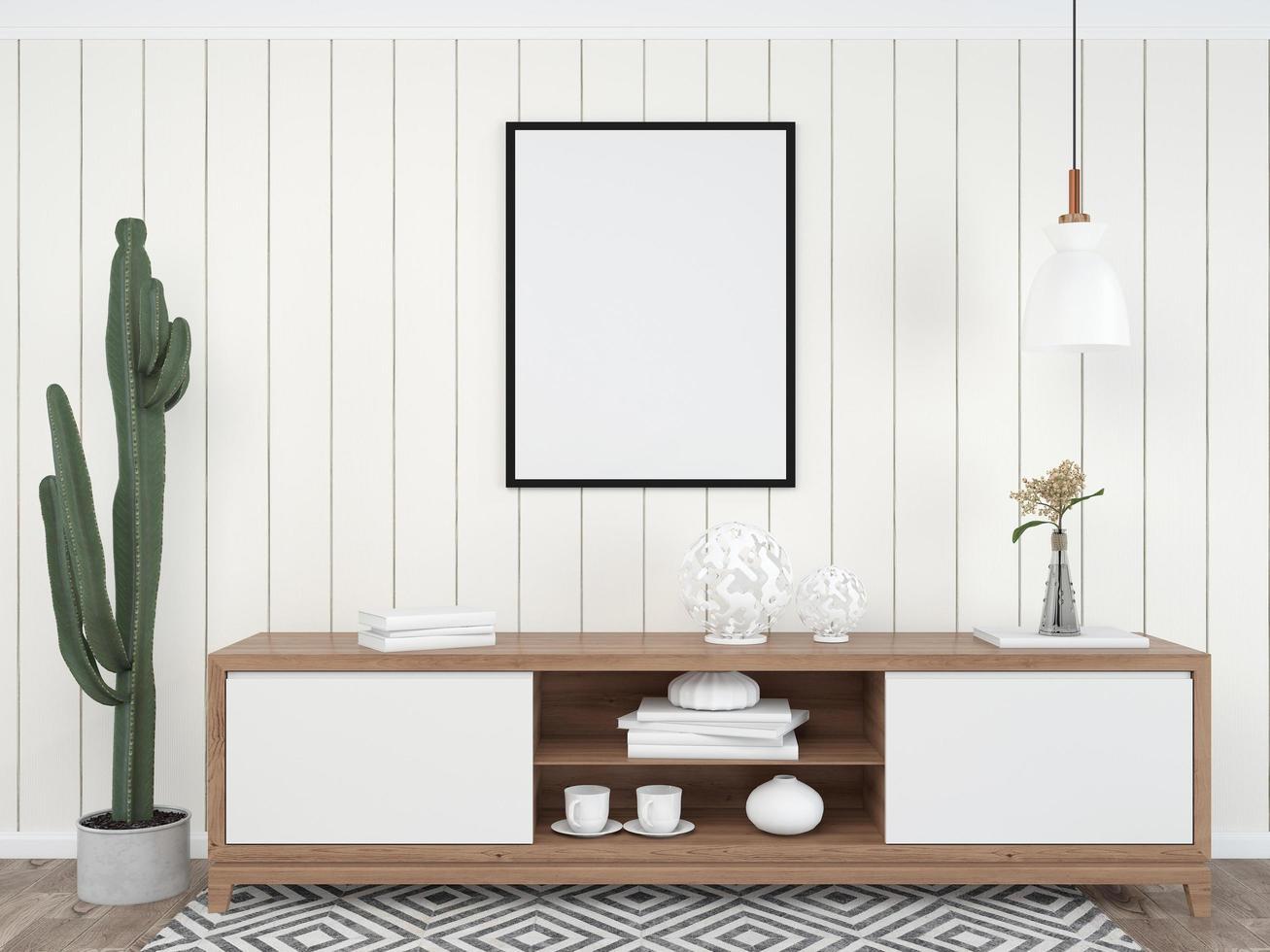 Mesa interior de sala de estar con plantilla de maqueta de marco de imagen 3d foto