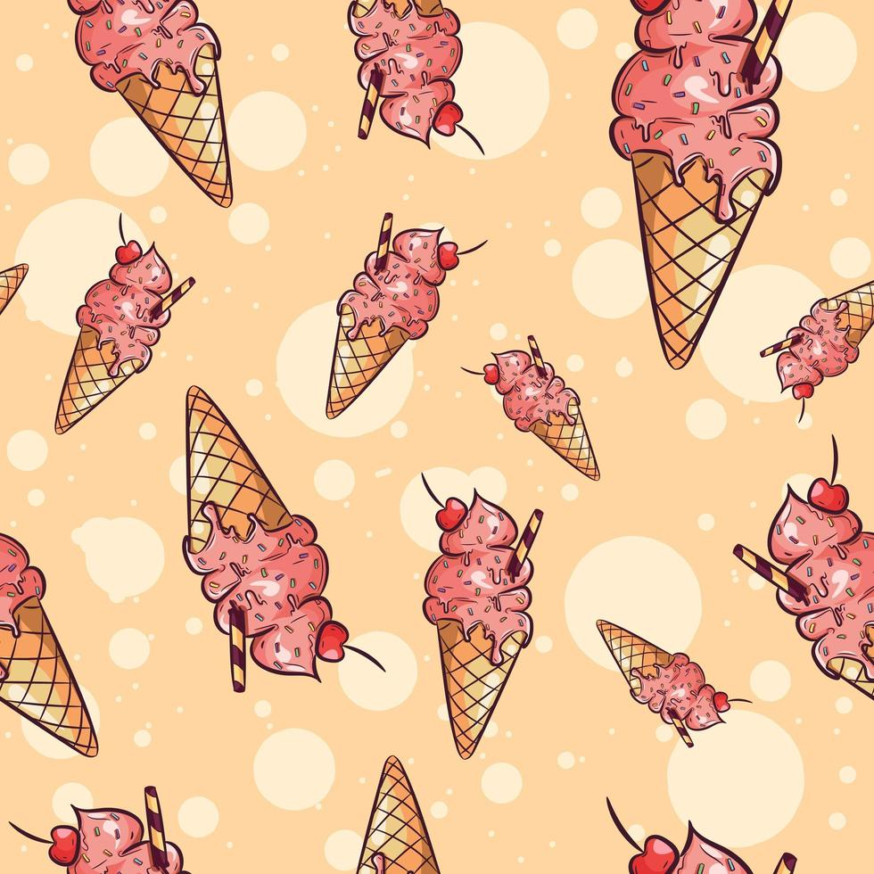 Ice cream cones with fruit and sprinkles seamless pattern vector