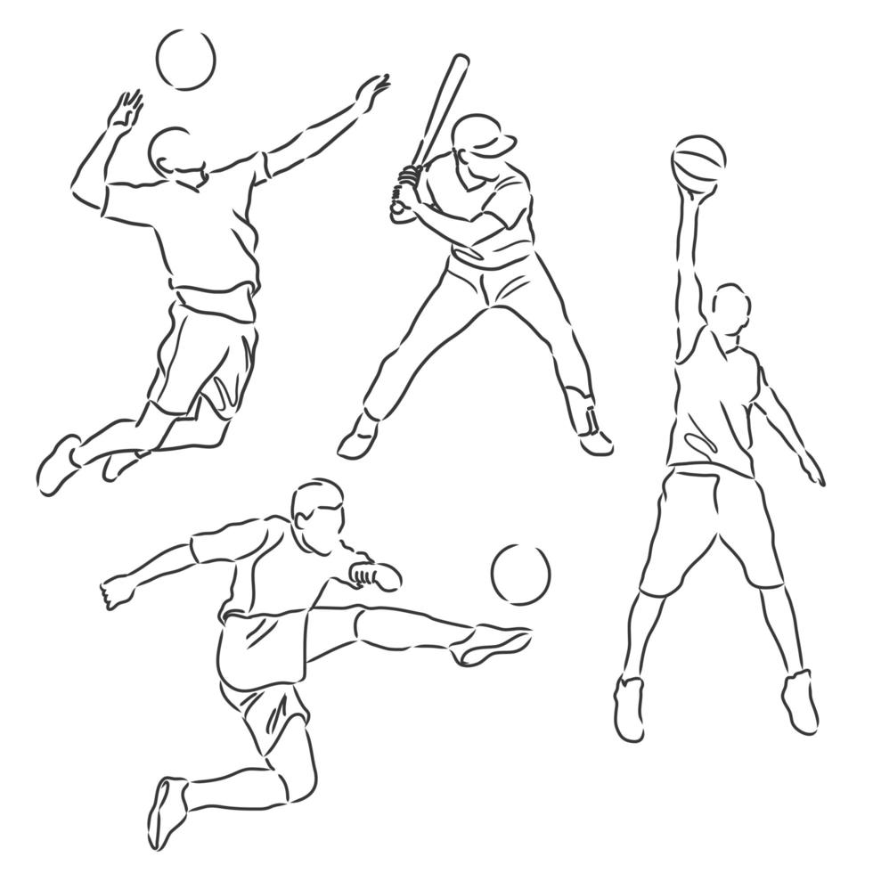 Sports athletes sketch collection vector