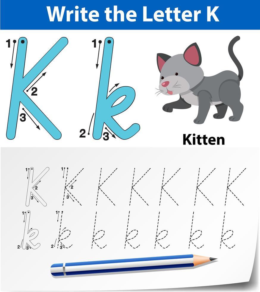 hoja de trabajo del alfabeto de trazado de la letra k vector