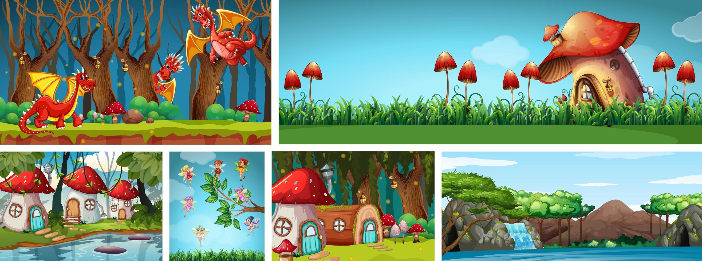 seis escenas diferentes del mundo de fantasía. vector