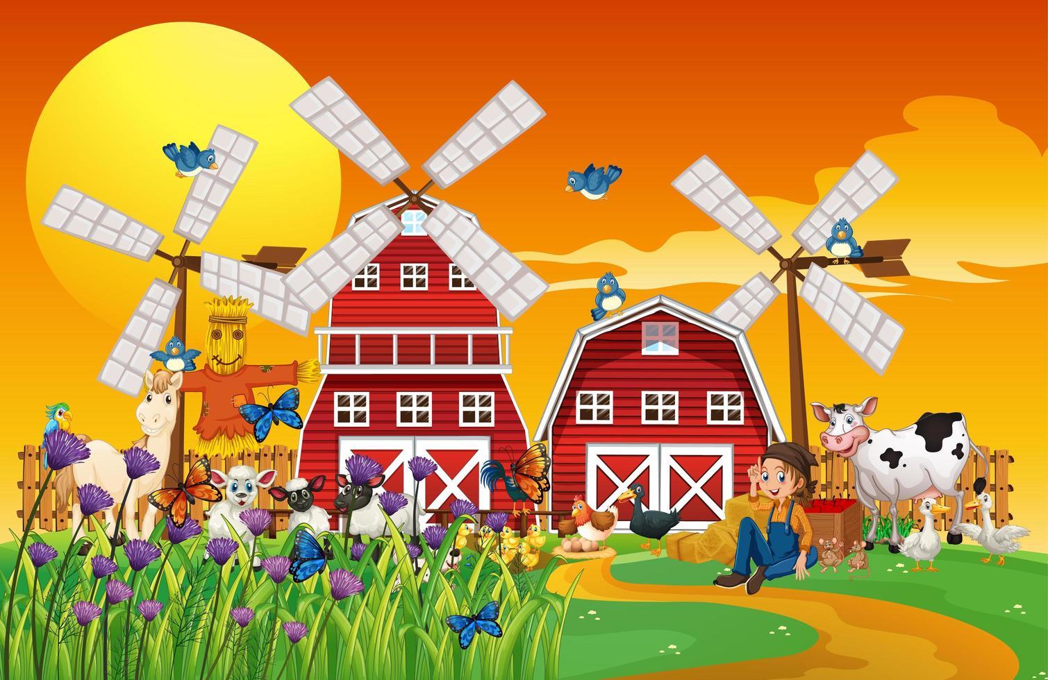 granja en escena de la naturaleza con graneros y animales. vector
