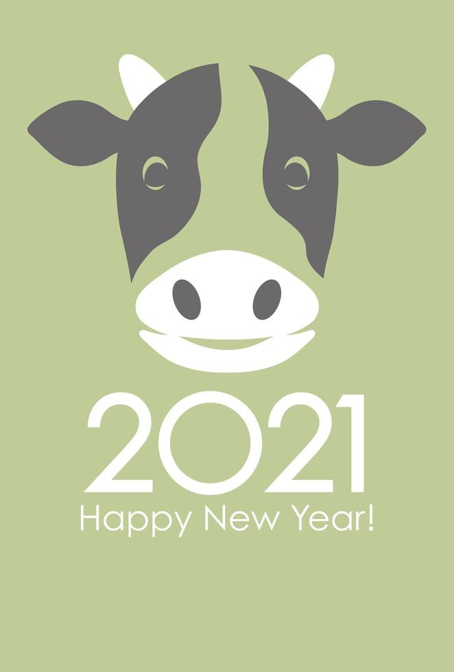 New year of the ox greeting card design vector