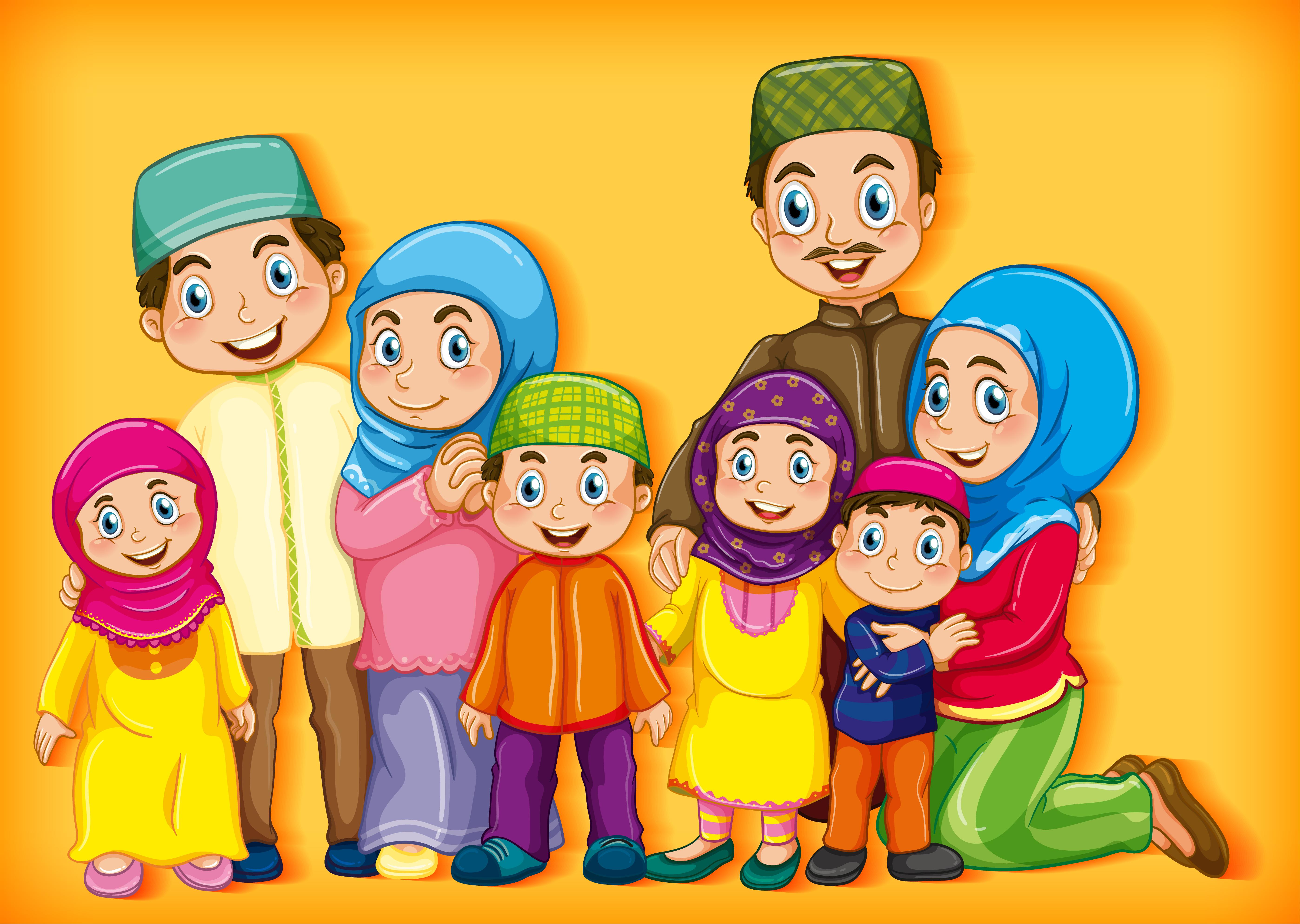 Muslim Family Members Cartoon Character Set Download Free Vectors Clipart Graphics Vector Art