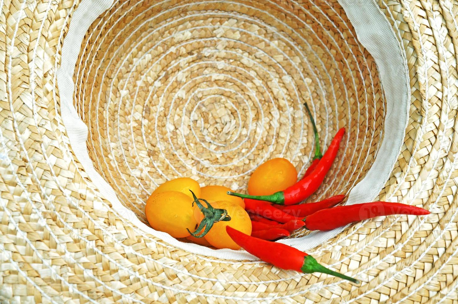 harvested tomatoes and chili in farmer's hat photo