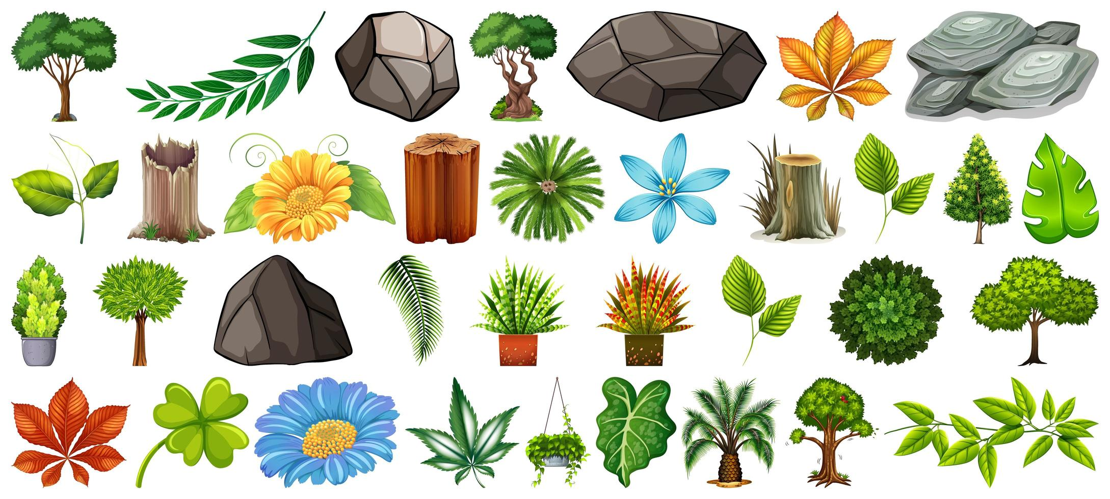 Set of different natural elements isolated vector