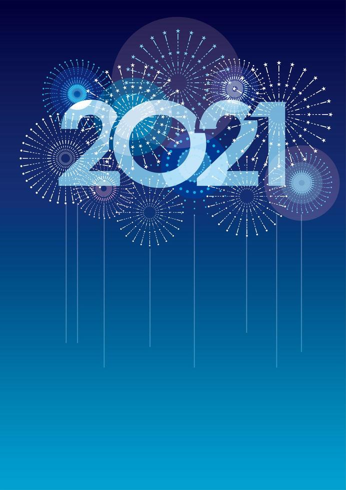 2021 New Year's card template with fireworks vector
