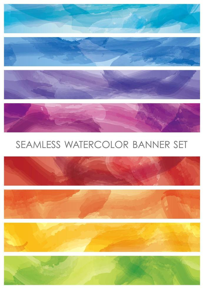 Set of watercolor colorful banners horizontally continuous vector