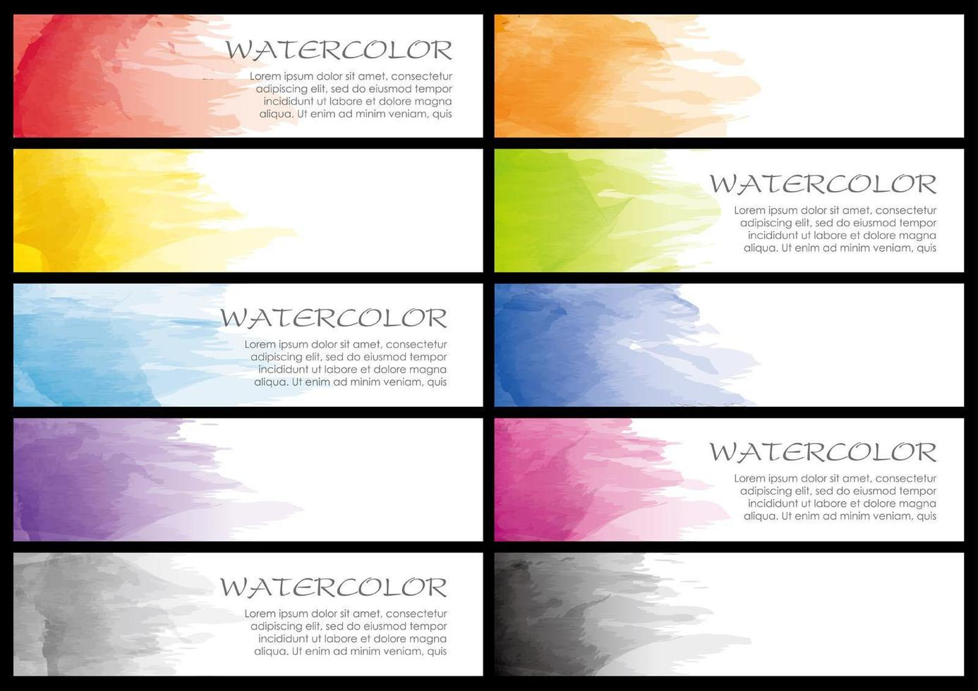 Set of watercolor colorful banners vector