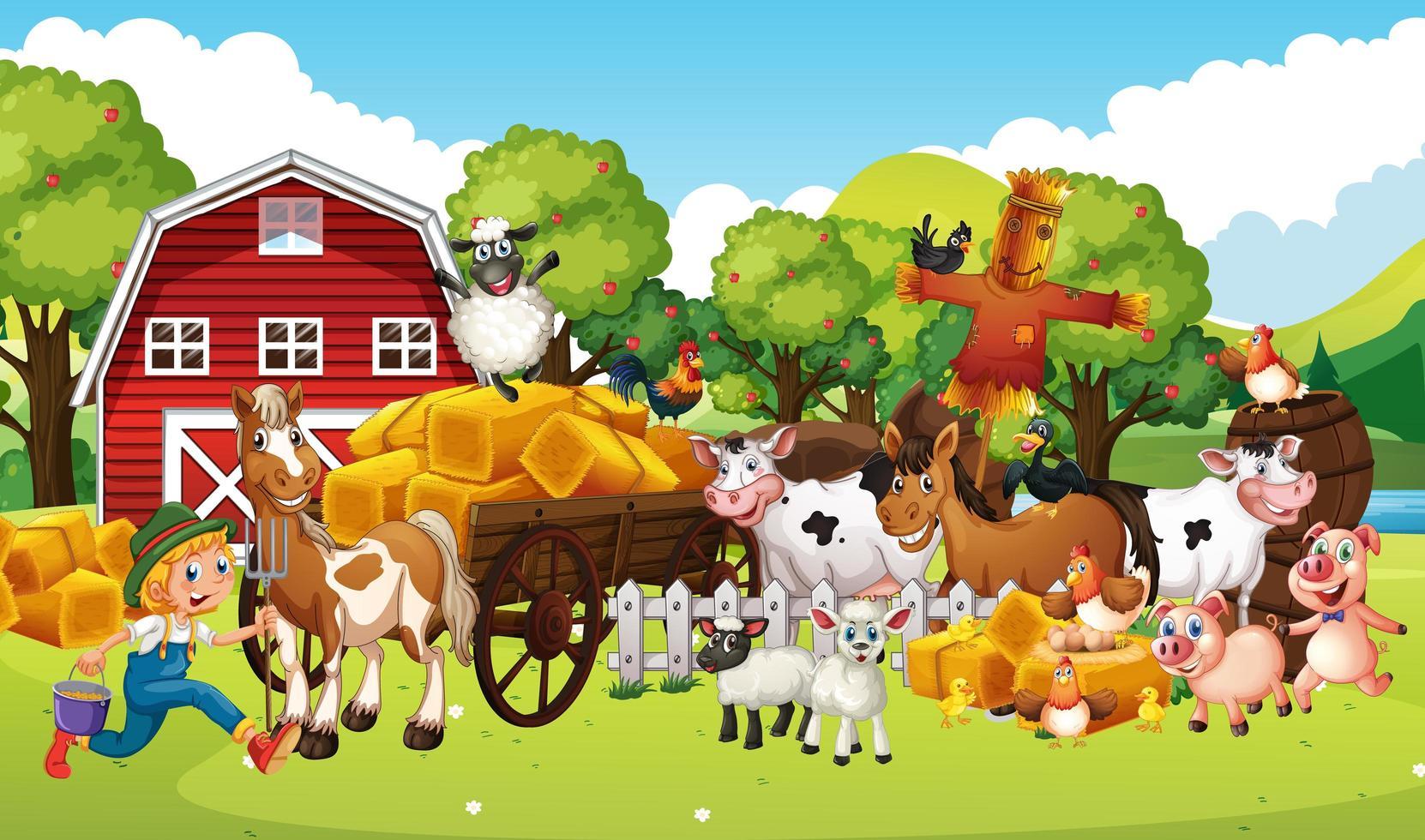 Farm in a nature scene with animal farm vector