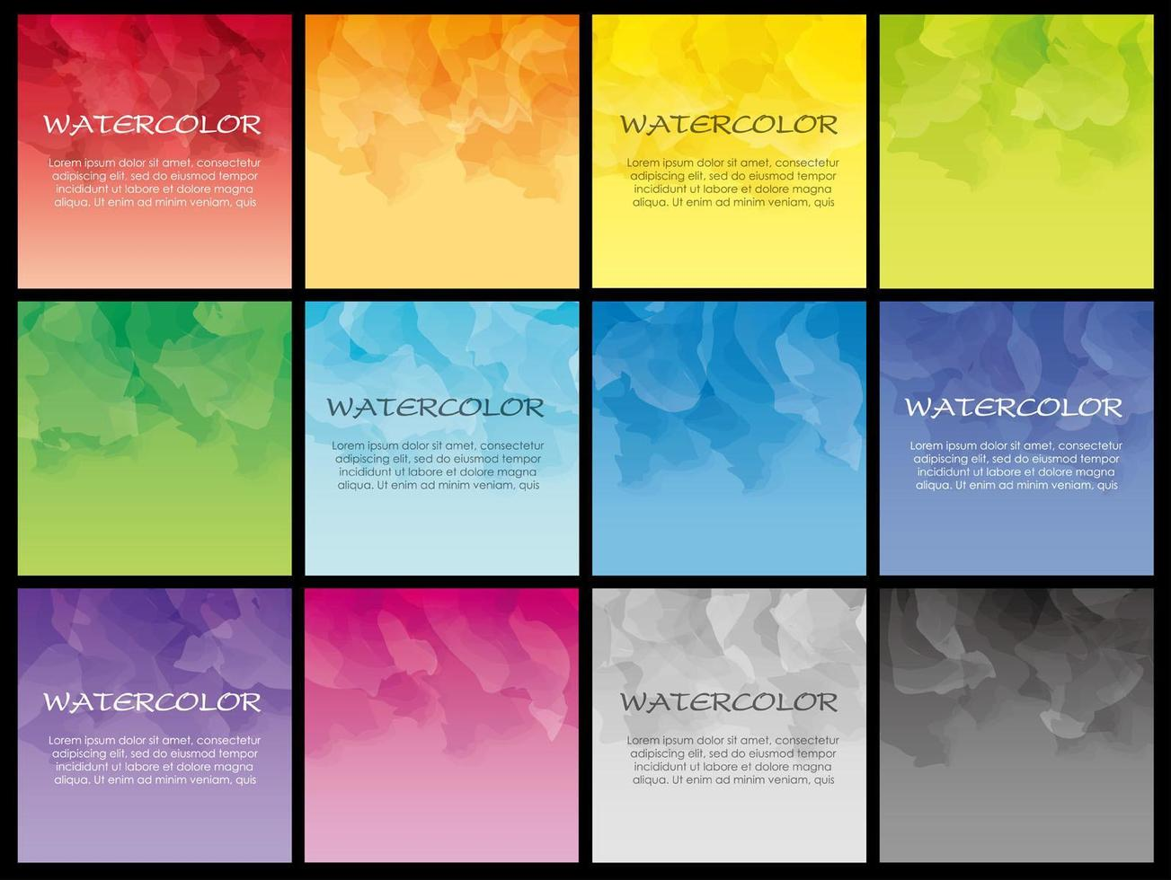 Set of square watercolor icons for background vector