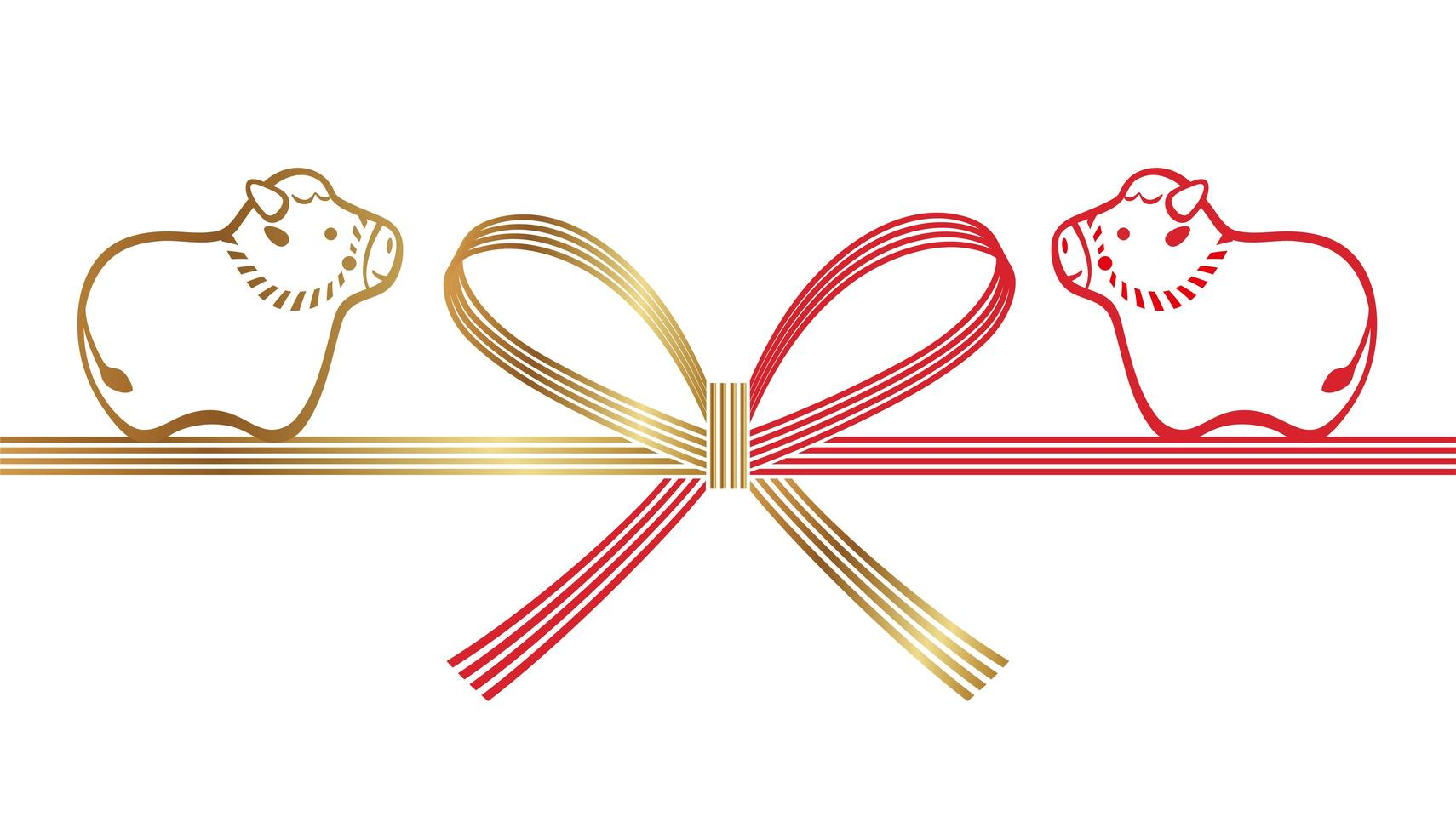 Year of the ox mizuhiki element decoration vector
