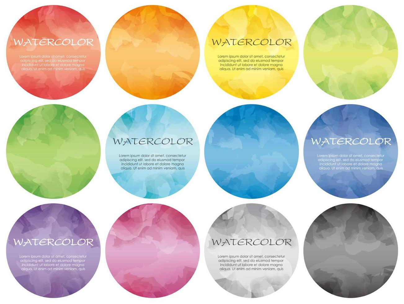 Set of round watercolor icons for background vector