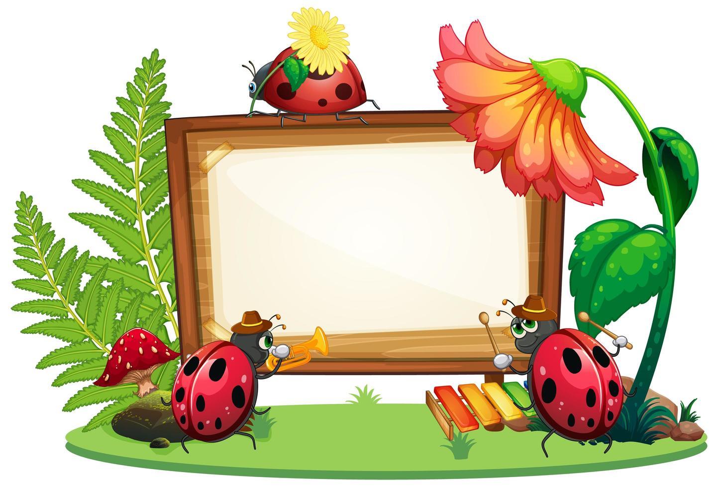 Diseño de plantilla de borde con insectos en el jardín. vector