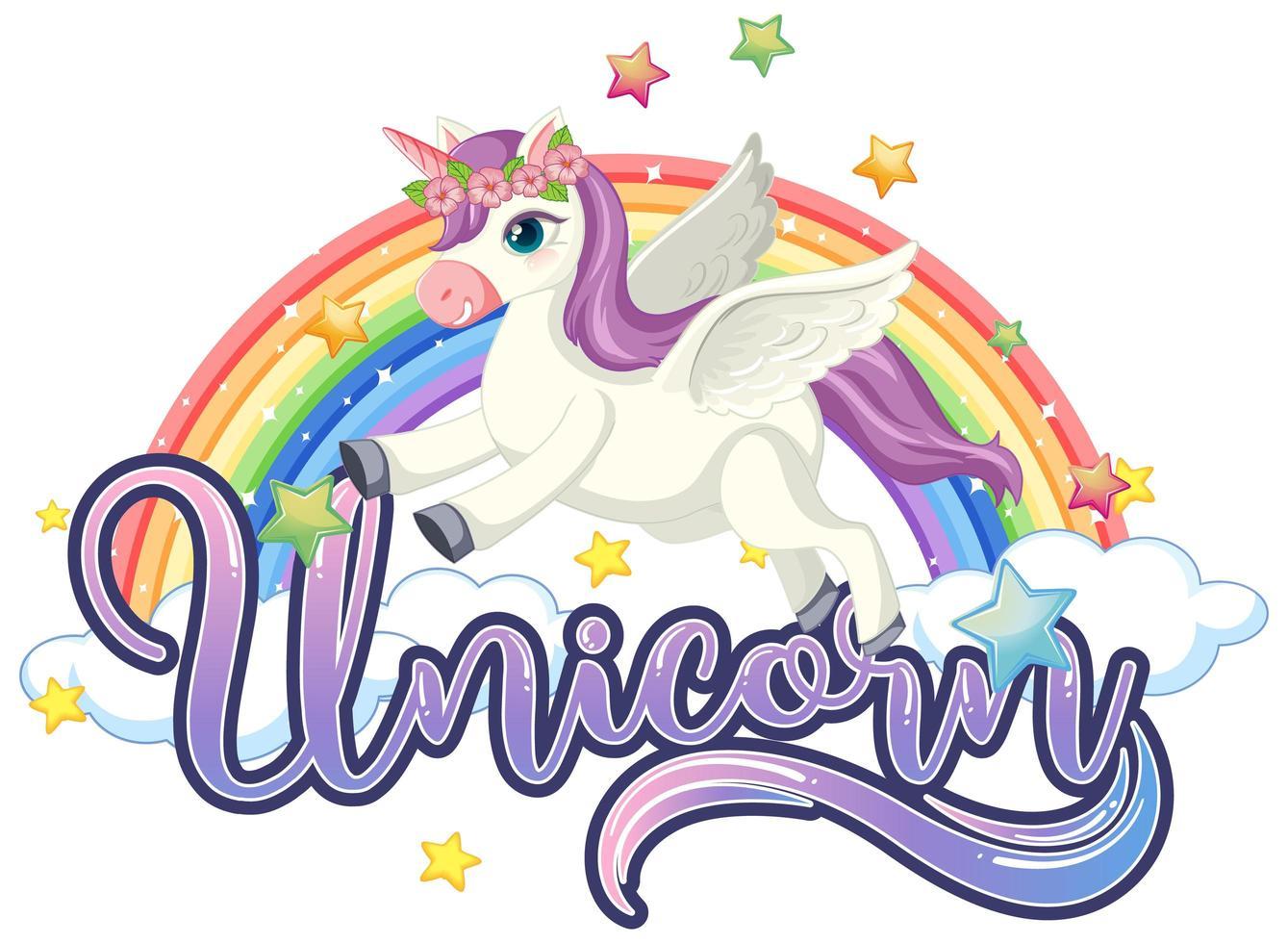 lindo unicornio con letrero de unicornio y arco iris vector