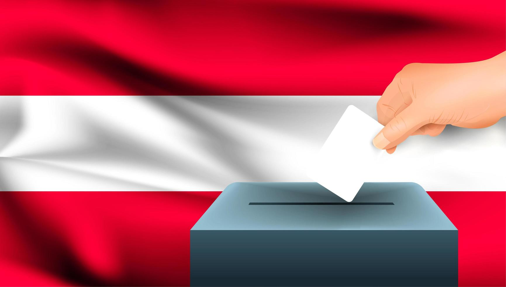 Hand putting ballot into box with Austrian flag vector