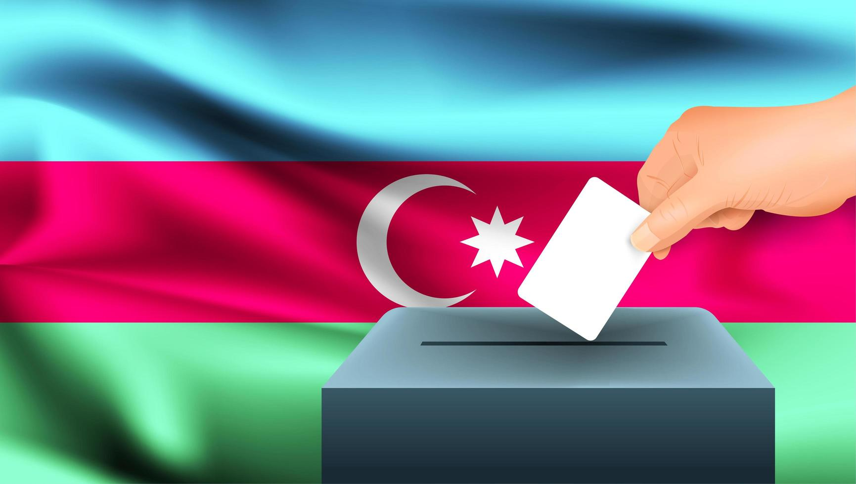 Hand putting ballot into box with Azerbaijan flag vector