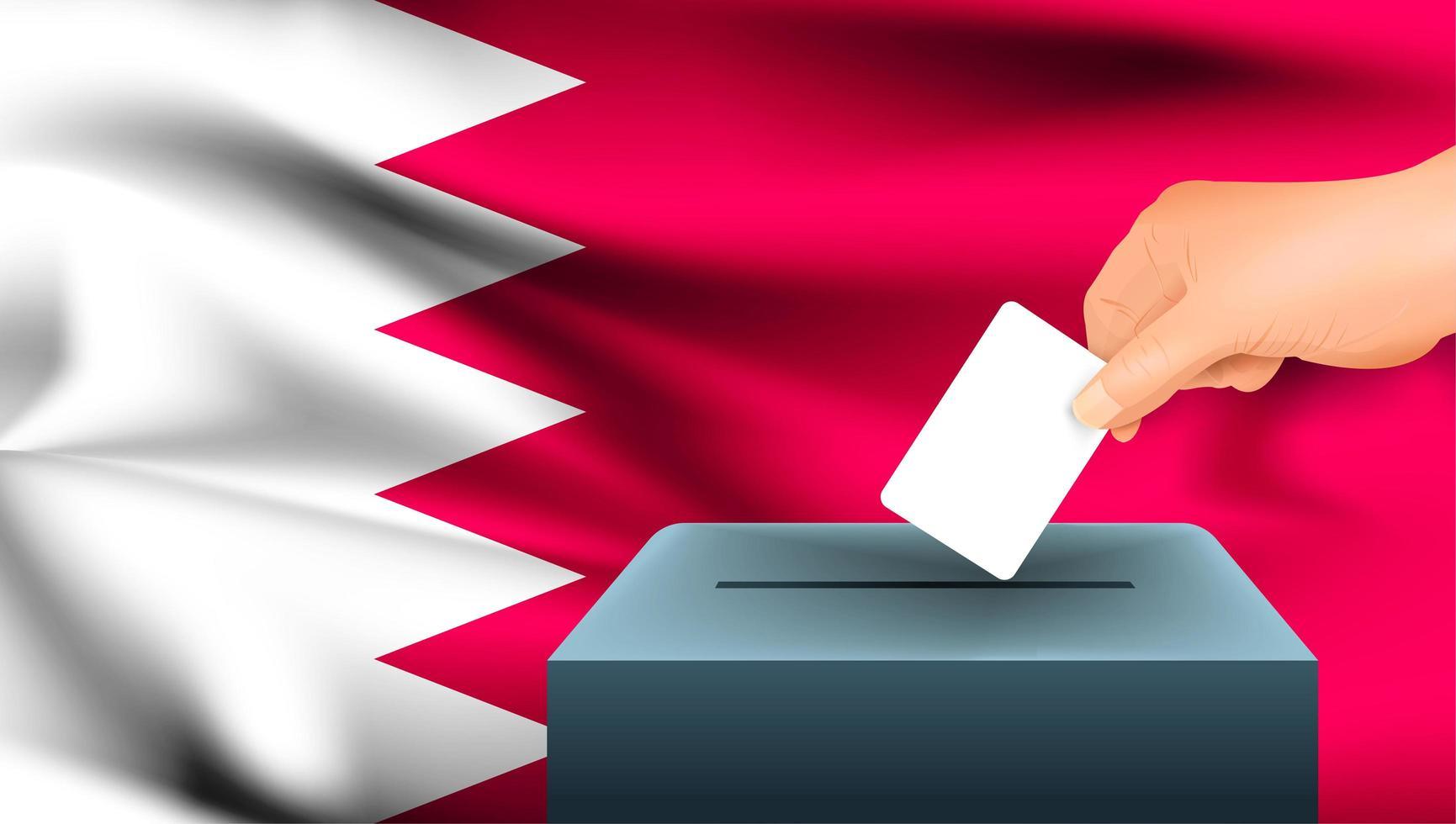 Hand putting ballot into box with Bahrain flag  vector
