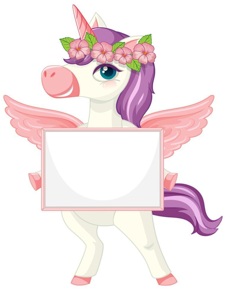 lindo unicornio sosteniendo una pancarta en blanco vector