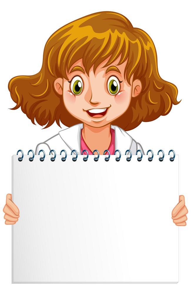 Cuaderno de espiral en blanco con doctor en blanco vector