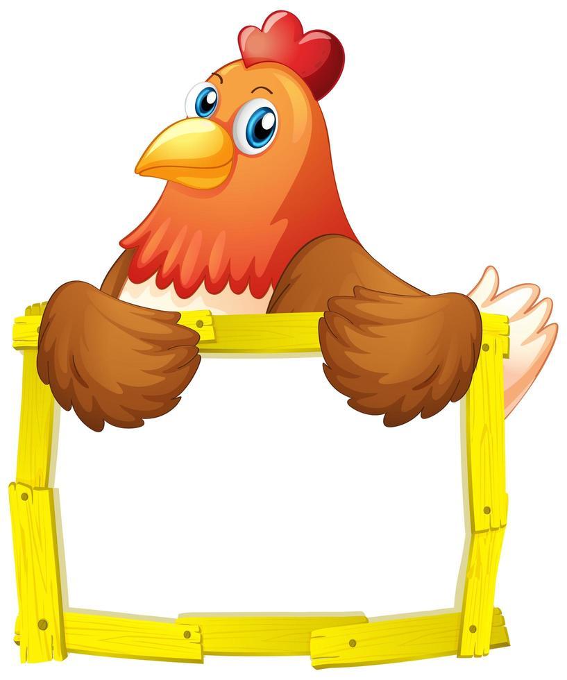Colorido marco de madera amarilla con pollo en blanco vector
