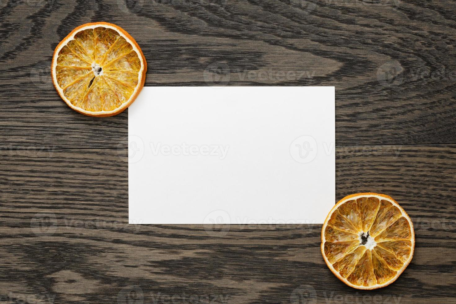 dried orange slices with paper card photo