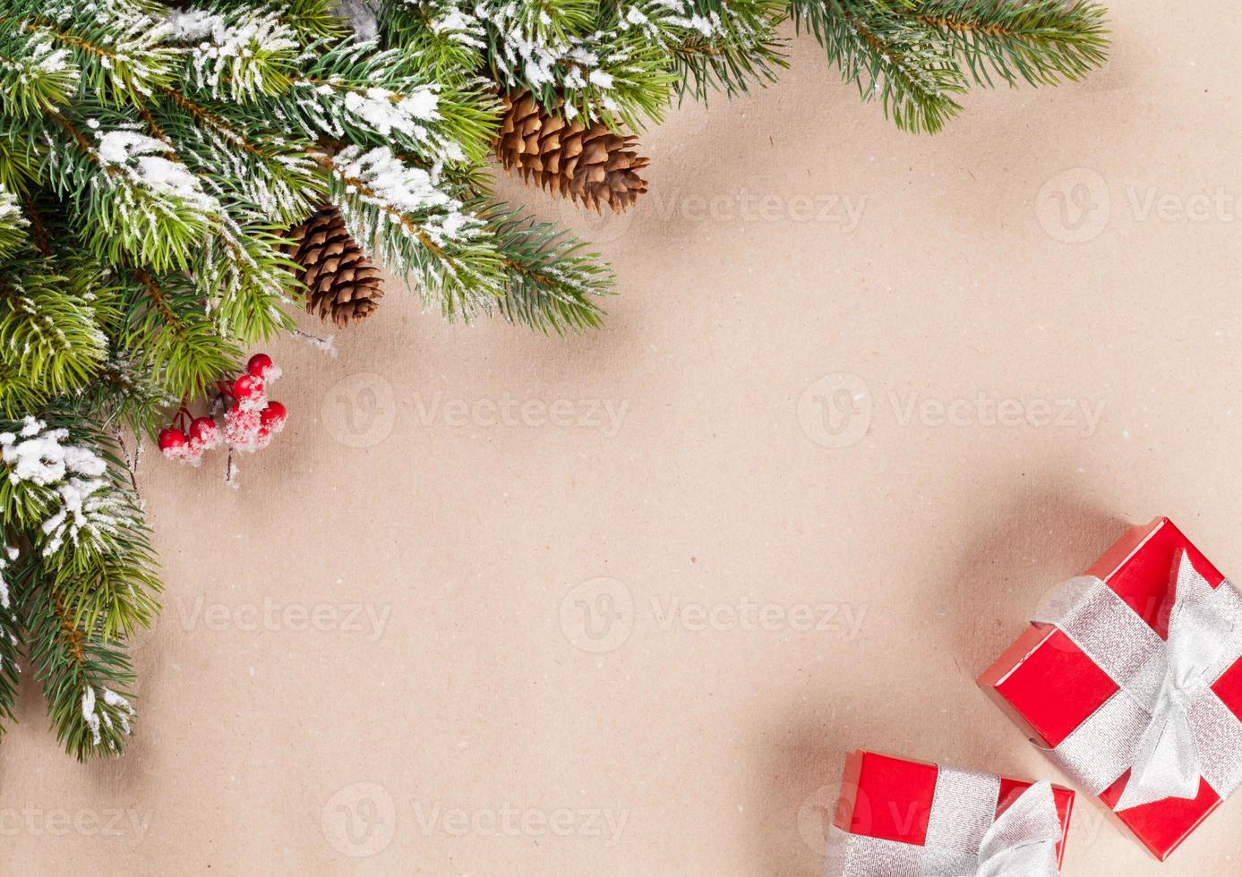 Christmas tree branch and gifts photo