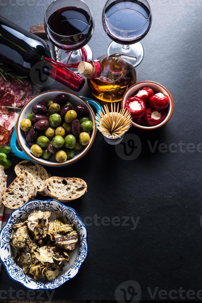 spanish tapas , food border background photo