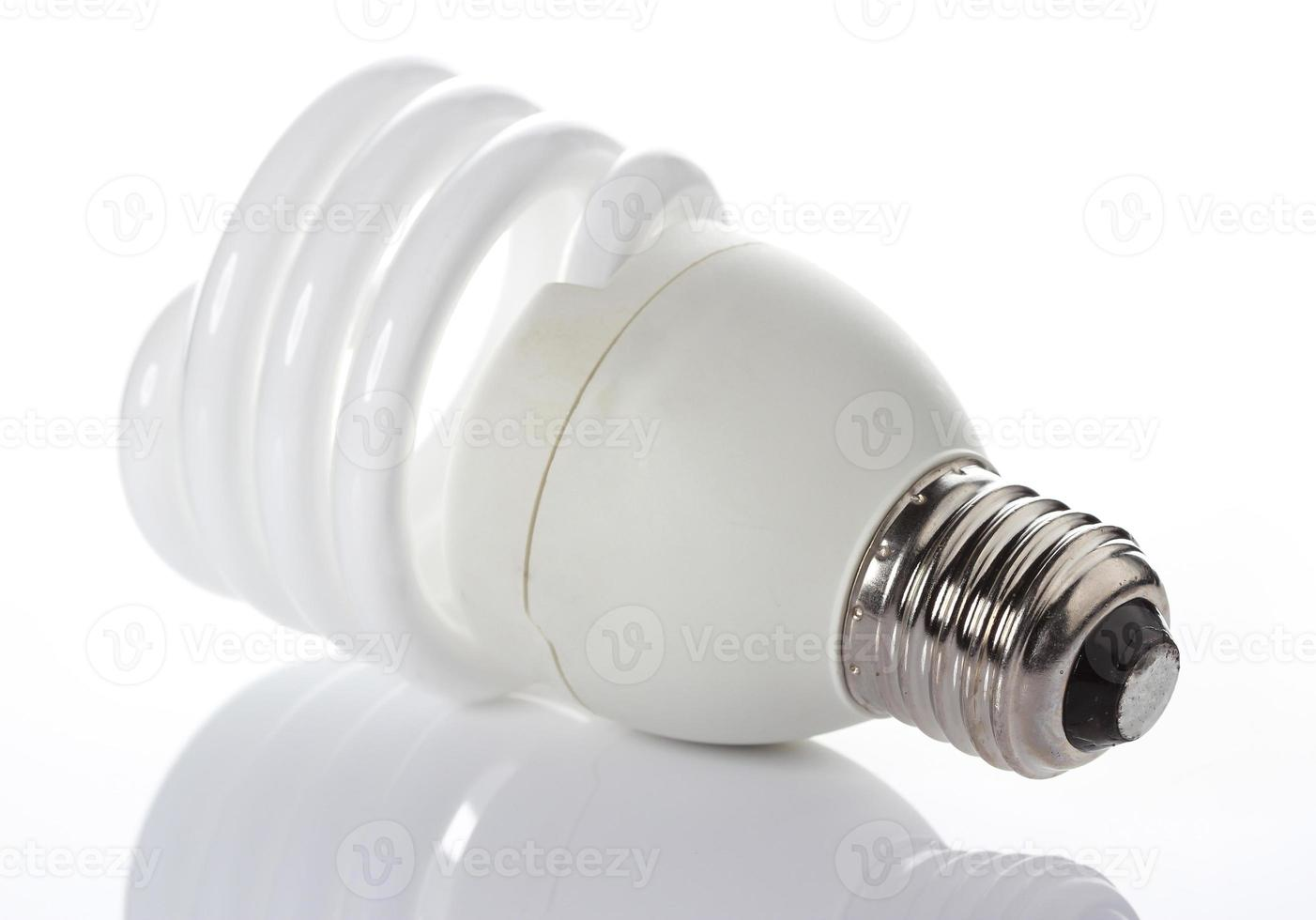Energy saving light bulbs, on white background photo