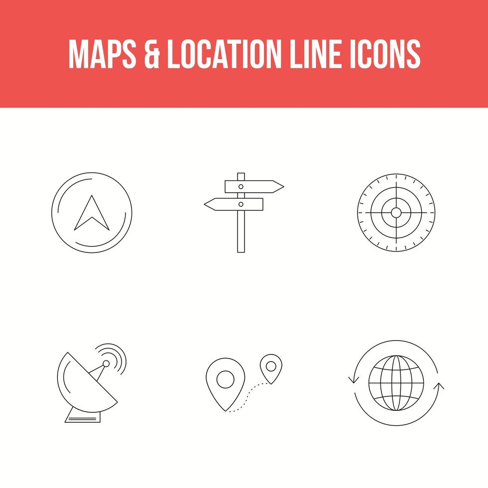 Maps and location line icon set vector