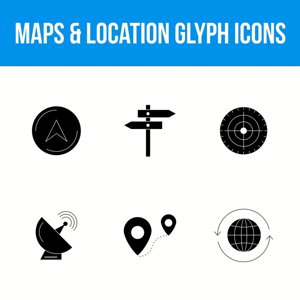 Maps and location glyph icon set vector