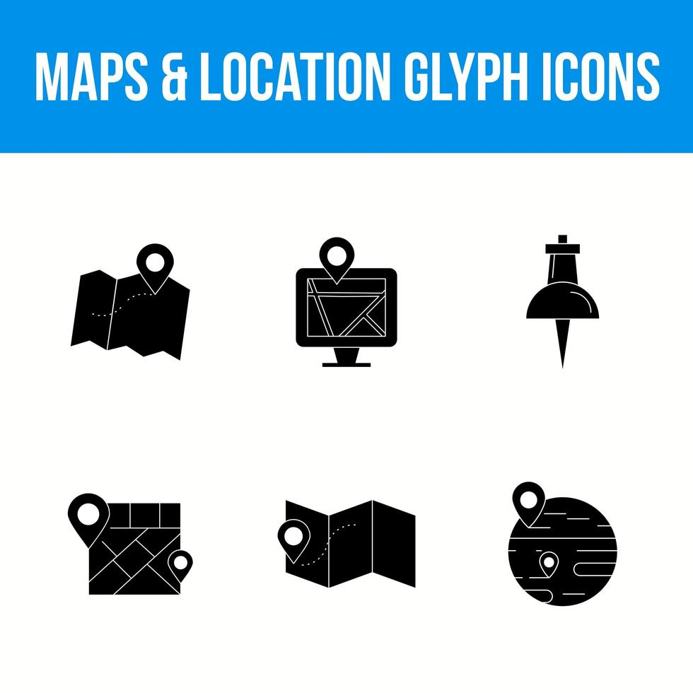 Maps and location 6 glyph icons vector