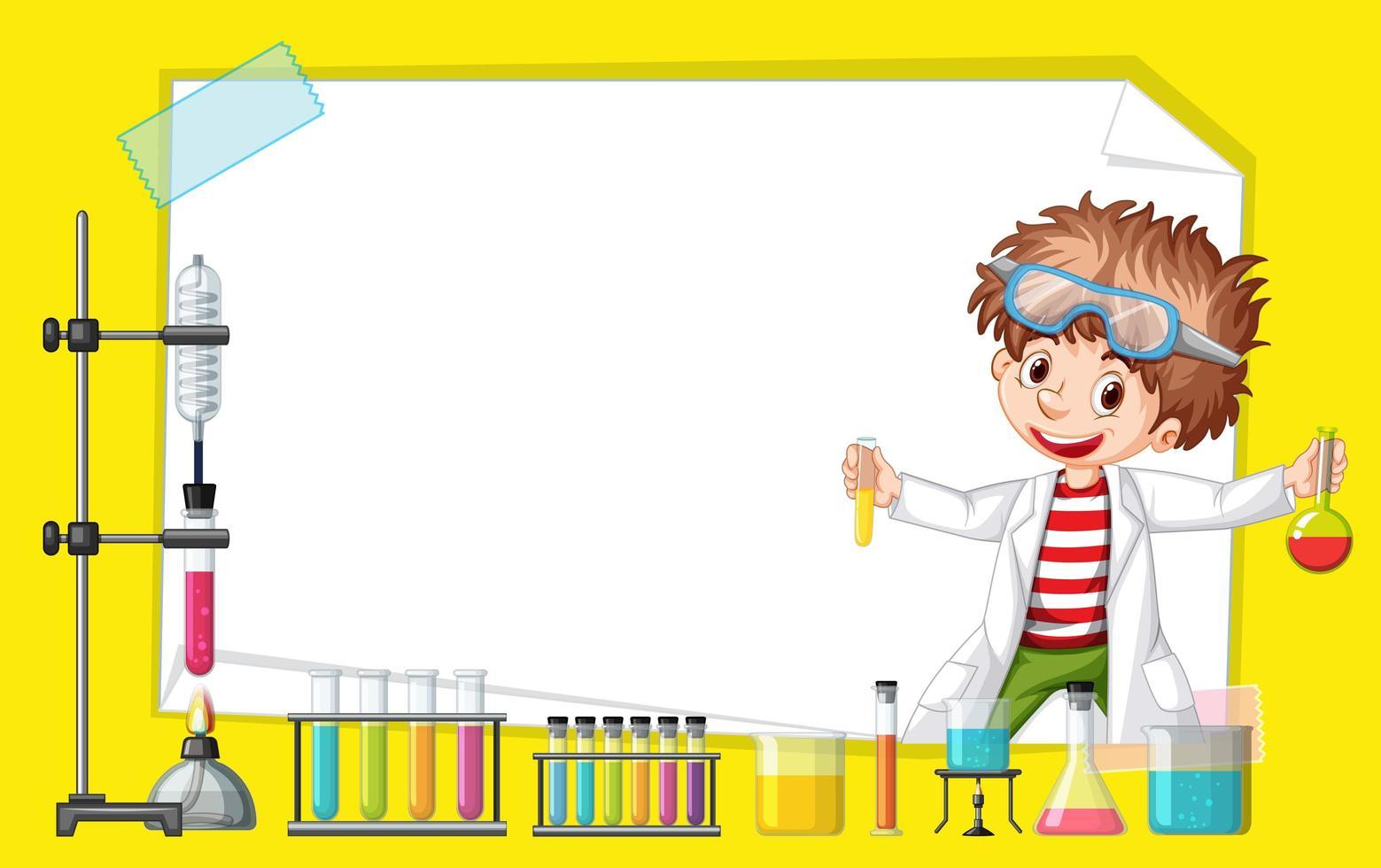 diseño de plantilla de marco con niño en laboratorio de ciencias vector